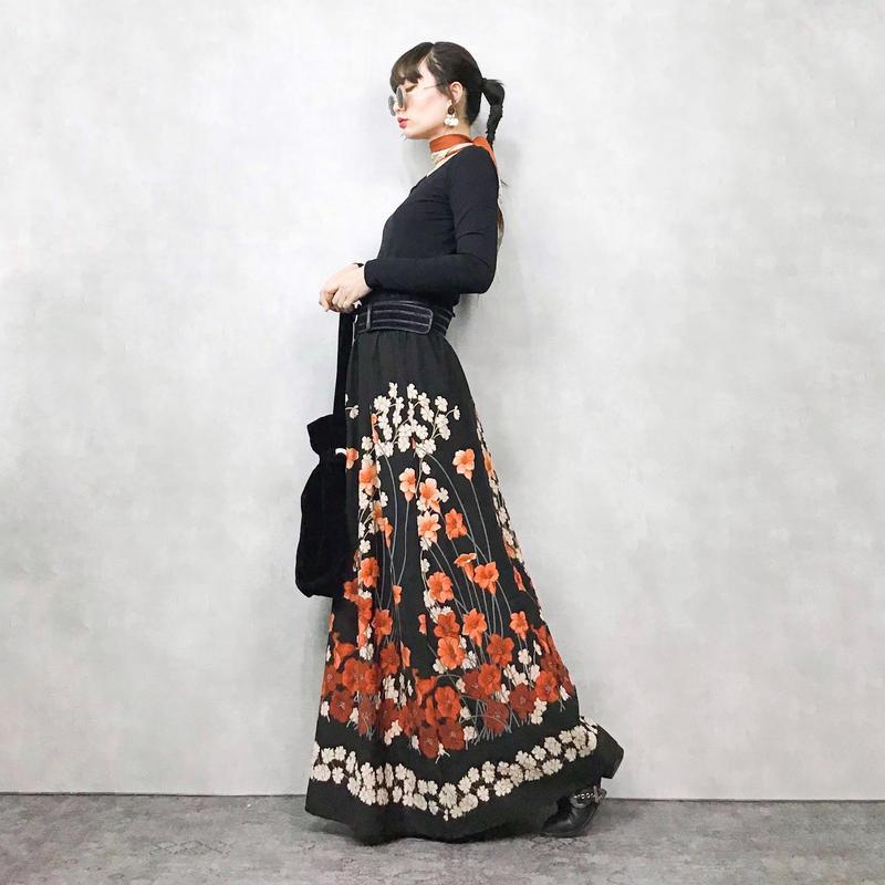 Flower import black long skirt