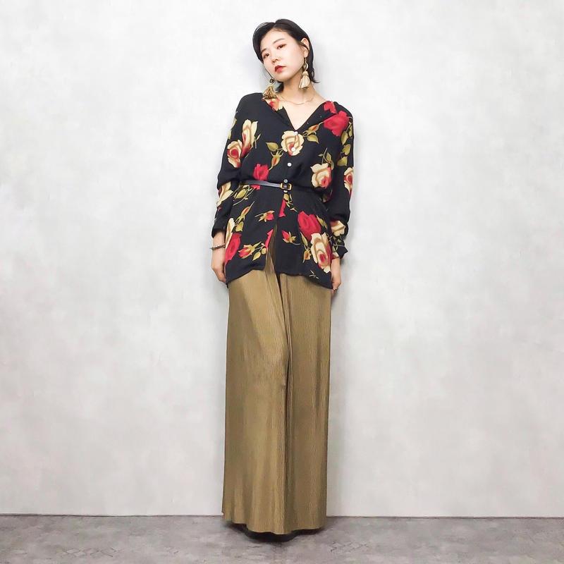 AUGUST SILK rose shirt-418-7