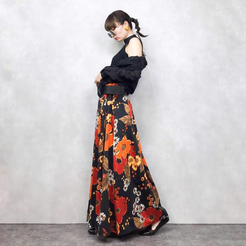 Orange flower maxi skirt