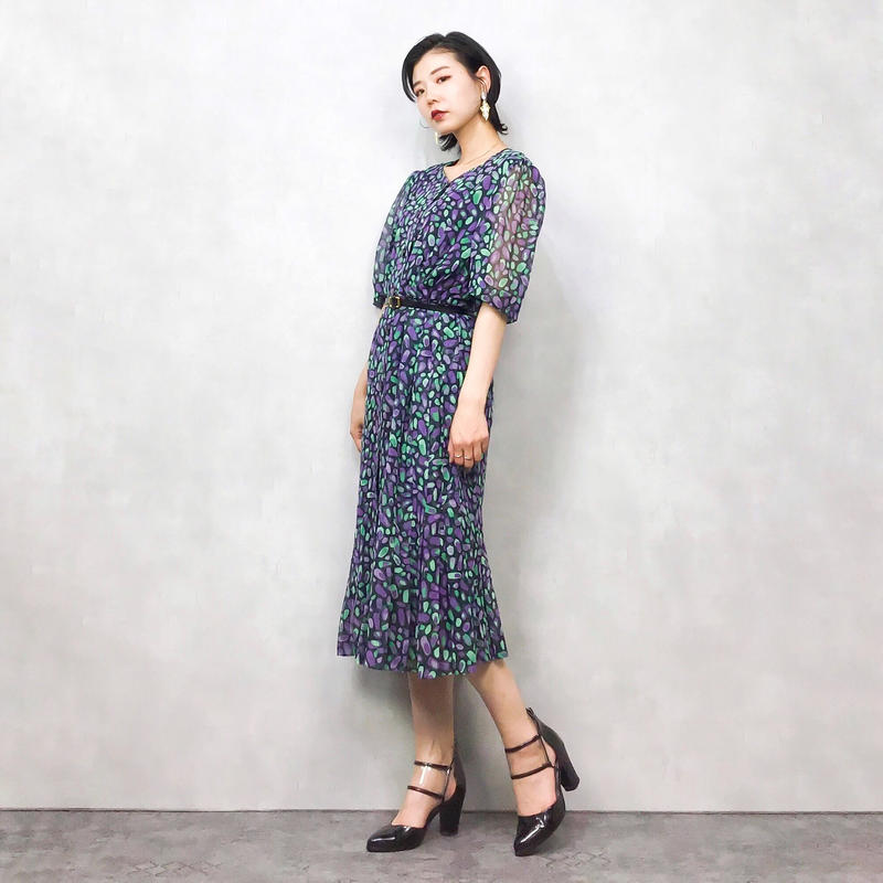 COUTURE2 purple stone pattern dress-406-7