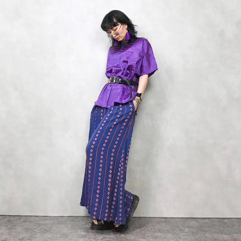 V.P THAI SILK purple shirt