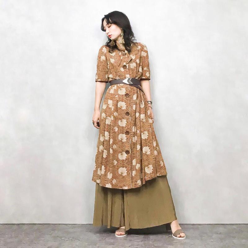 AGEN wooden button brown dress-396-7