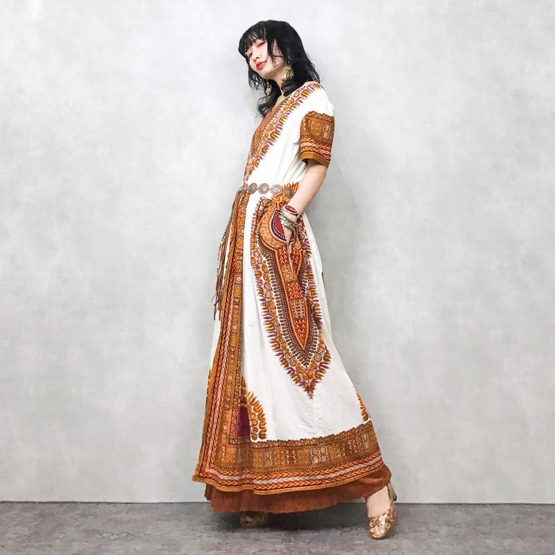 Exotic leaf long dress