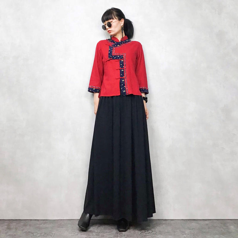 Flower embroidery  red china shirt