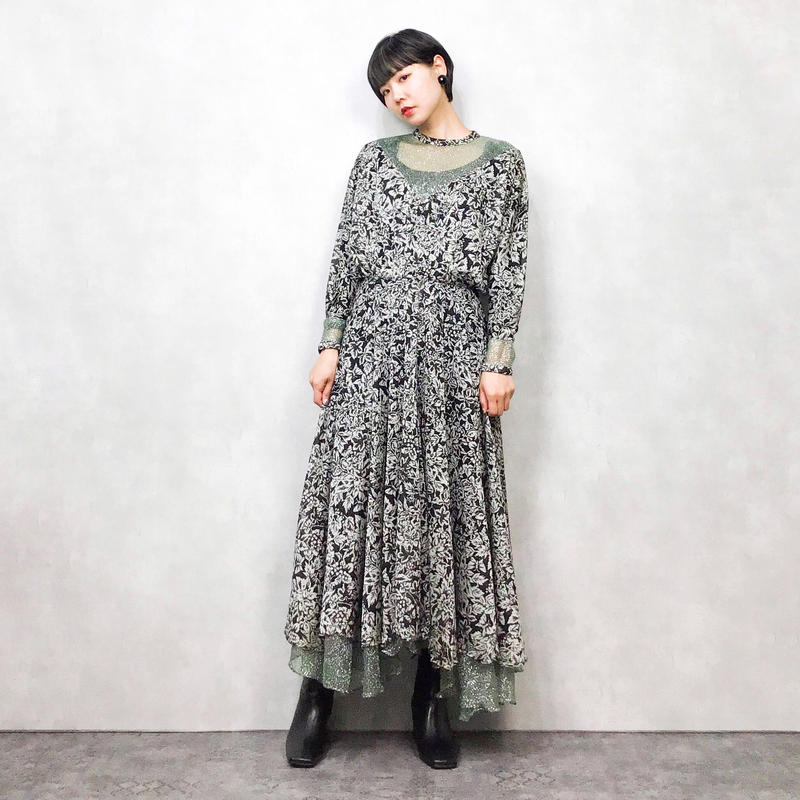 Flower black  maxi dress