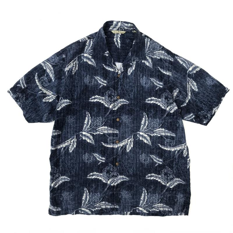 S/S Open Collar Shirt / Navy / Used