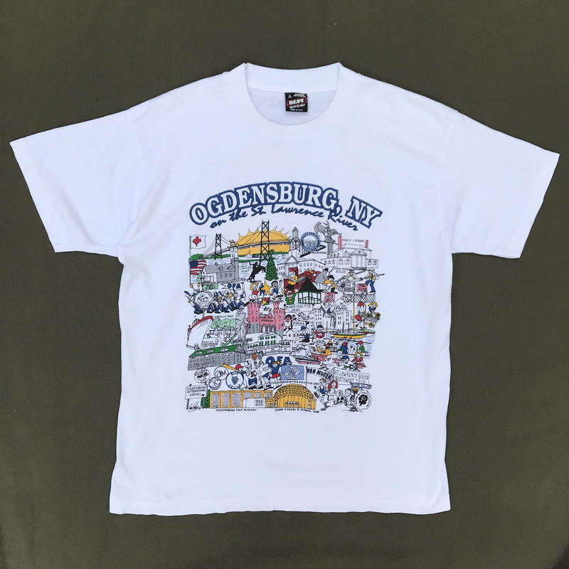 "Made in USA / 90s ""OGDENSBURG, NY"" Tee / White / Used"