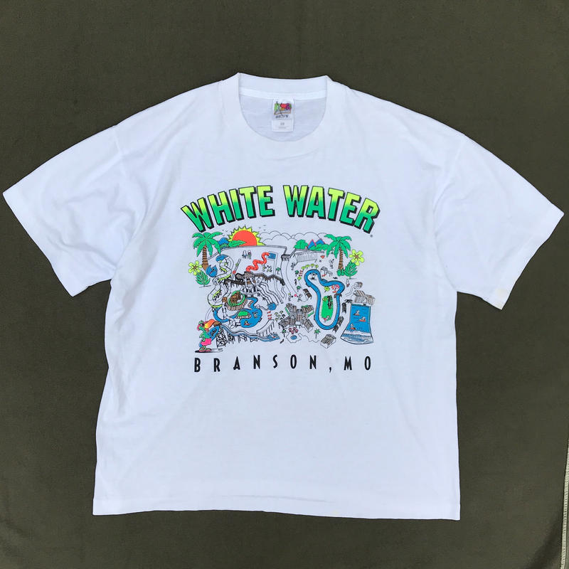 "90s ""White Water"" Tee / White / Used"