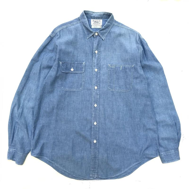 Made in USA  / Polo Ralph Lauren / Chambray Shirt / Indigo / Used
