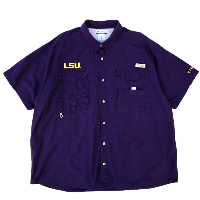 Columbia / S/S B.D. PFG Fishing Shirt  /  Purple / Used