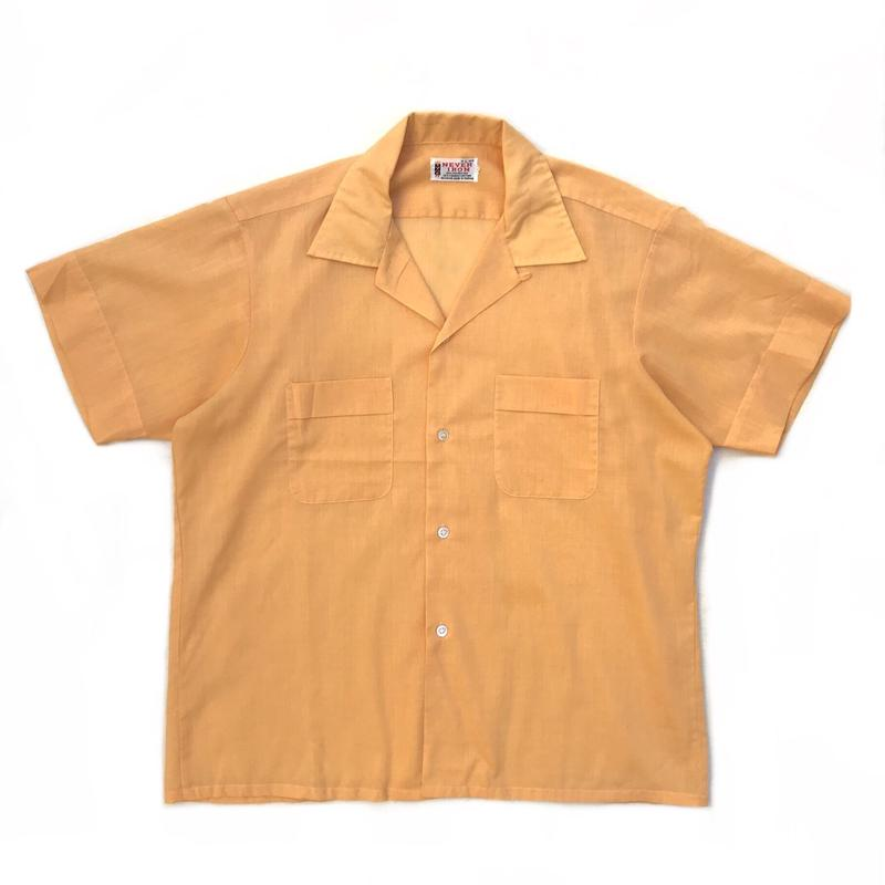 60-70s L/S Open Collar Shirt / Yellow / Used