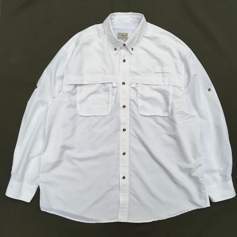 L.L.Bean / L/S B.D. Fishing Shirt  /  White / Used