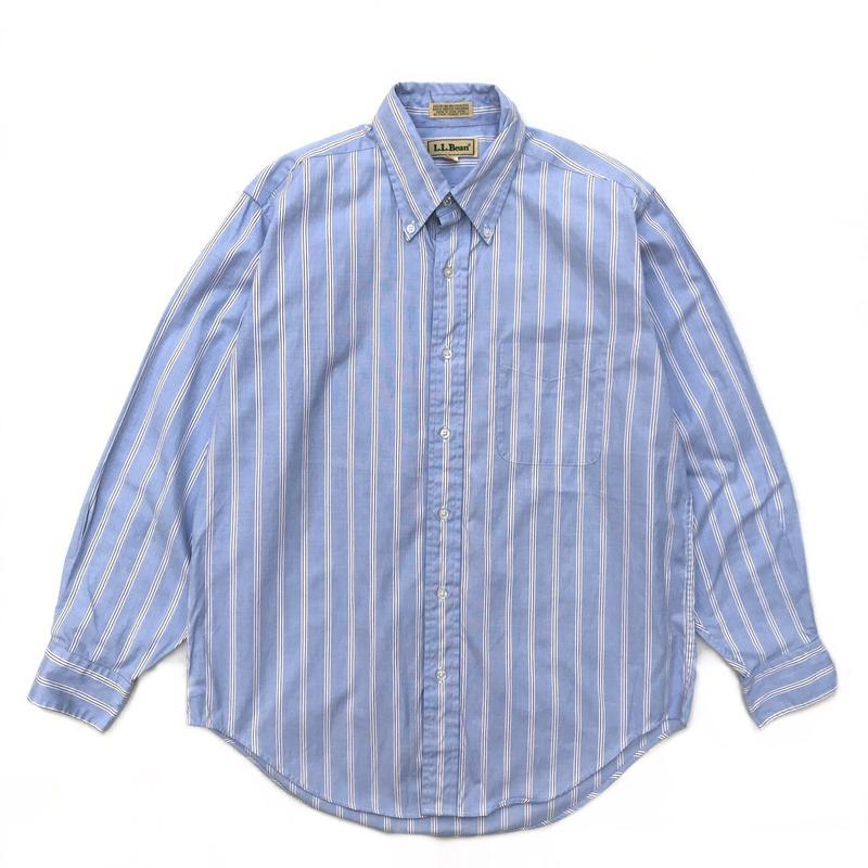 90s L.L.Bean / L/S Stripe Shirt /Lt.Blue × White × Burgundy / Used