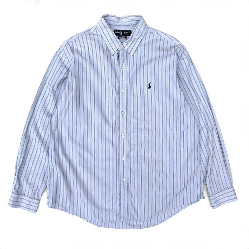 Polo Ralph Lauren / L/S Stripe B.D Shirt / Brown Stripe / Used