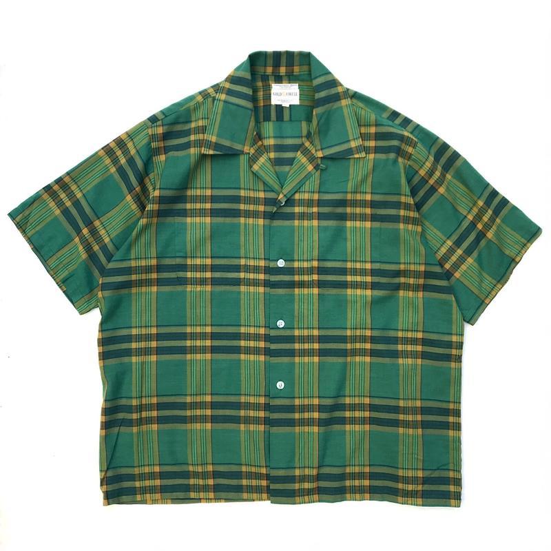 70s S/S Open Collar Shirt / Green × Yellow Check / Used