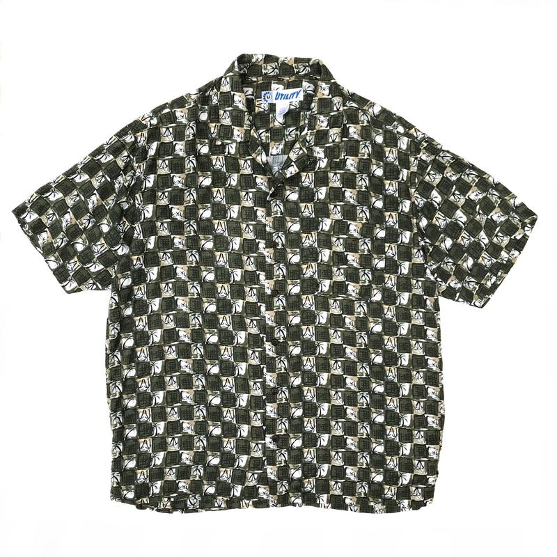 S/S Open Collar Shirt / Olive / Used