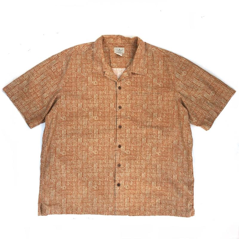 L.L.Bean / S/S Open Collar Shirt / Brown / Used