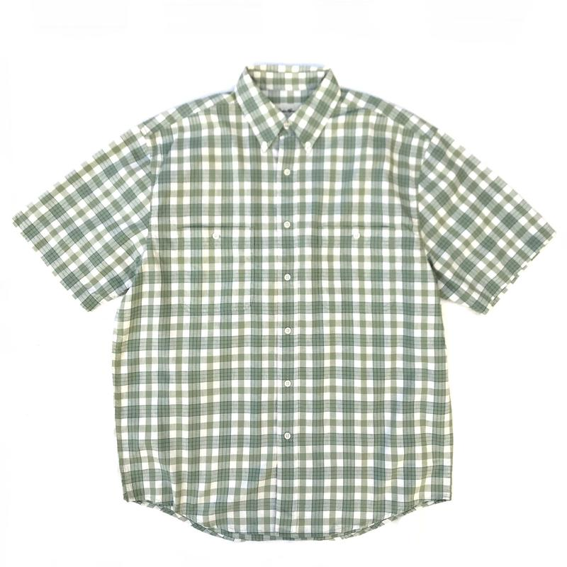 90s Eddie Bauer / S/S B.D. Shirt / Green Check / Used