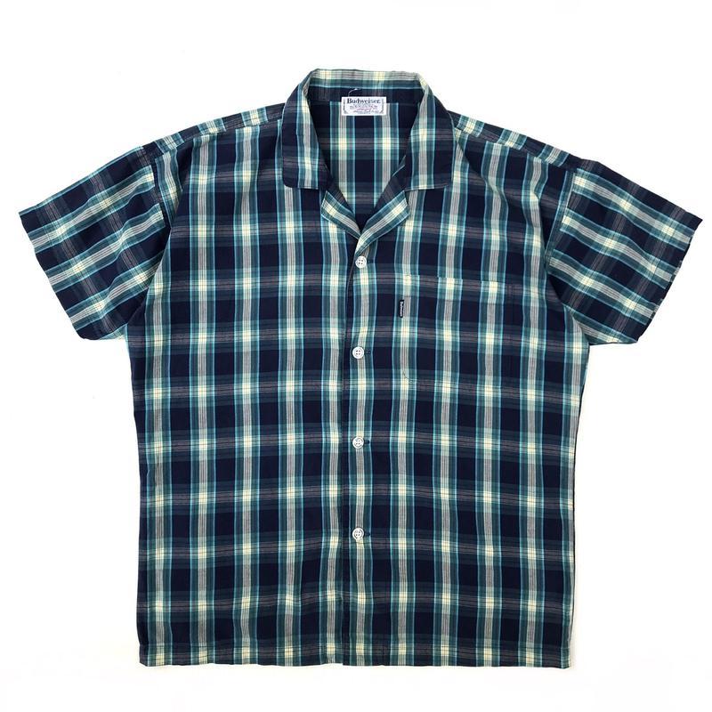 Budwiser / S/S Open Collar Shirt / Navy / Used