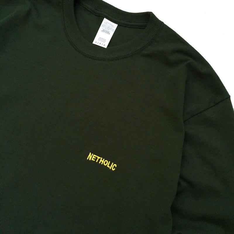 """Color at Against ORIGINALS / """"NETHOLIC"""" Long Sleeve  TEE / Forest × Yellow"""