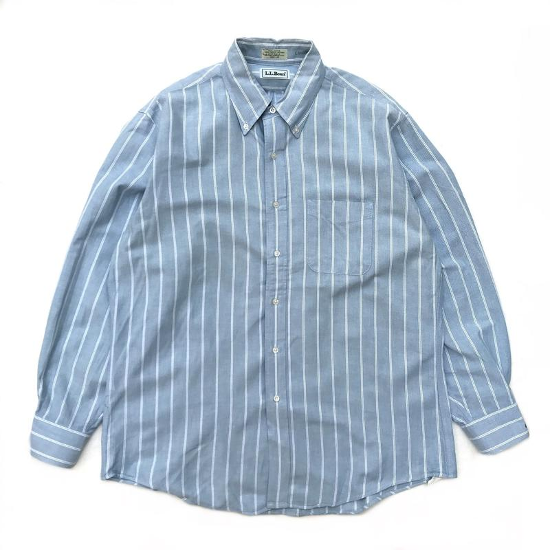 Made in USA / L.L.Bean / L/S Stripe Shirt / Lt. Blue × White / Used