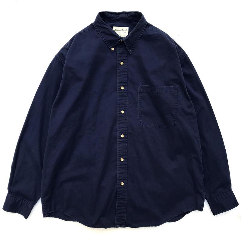 90s Eddie Bauer / L/S B.D. Cotton Shirt / Navy / Used