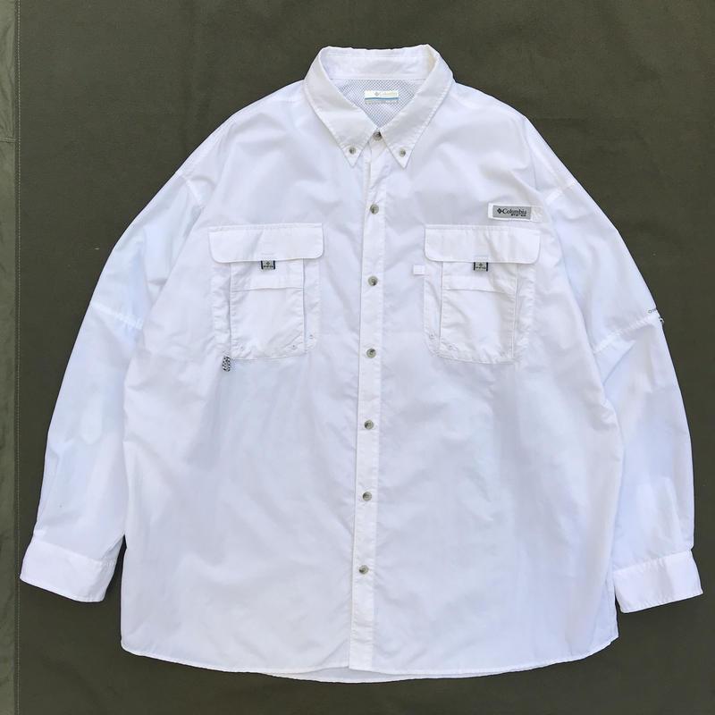 Columbia / L/S B.D. PFG Fishing Shirt  /  White / Used