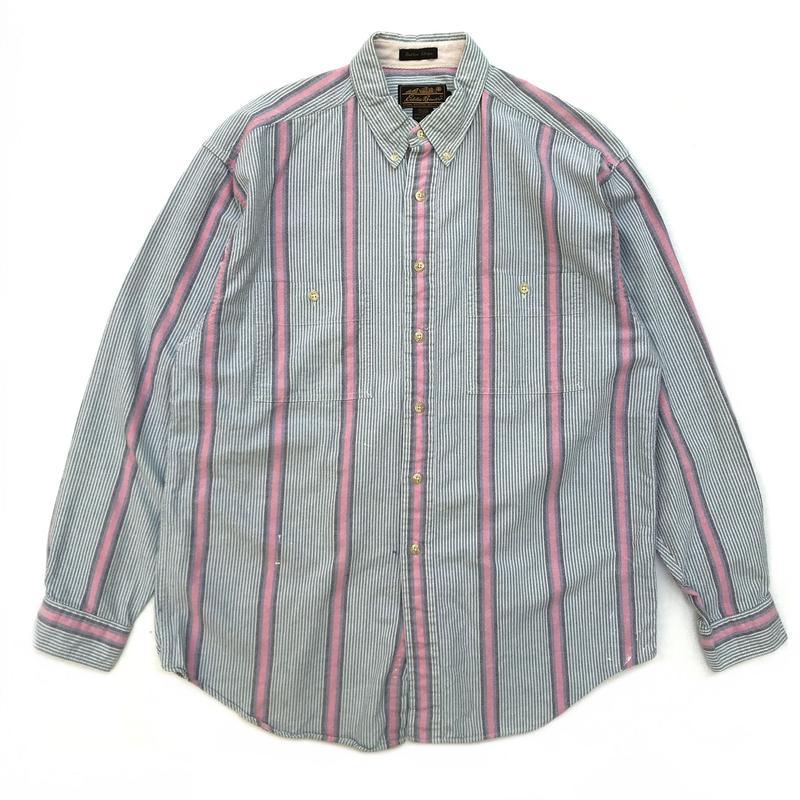 80s Eddie Bauer / L/S Stripe Shirt / Green × Pink / Used