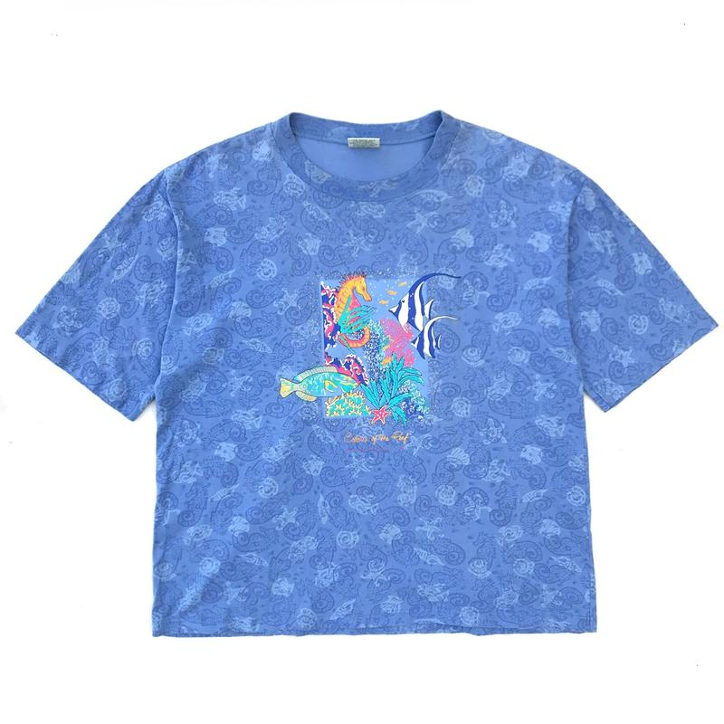 S/S Fish Graphic Tee / Lt Blue / Used