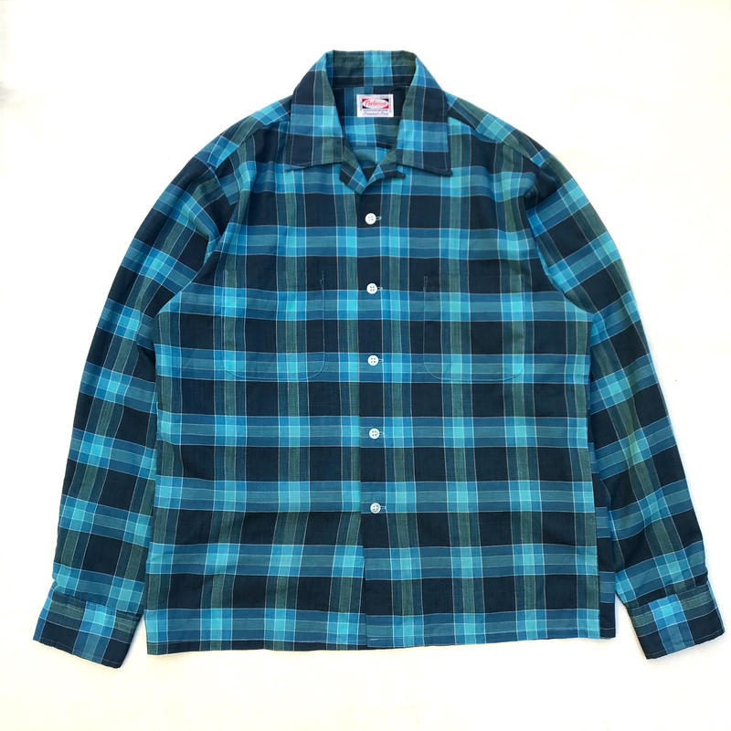 Made in Japan / 60s Open Collar Shirt / Blue Check / Used