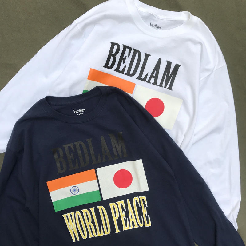 Bedlam / World Peace  L/S Tee / White , Black