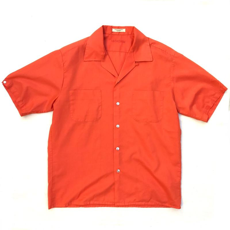 60-70s McGREGOR / L/S Open Collar Shirt / Orange / Used