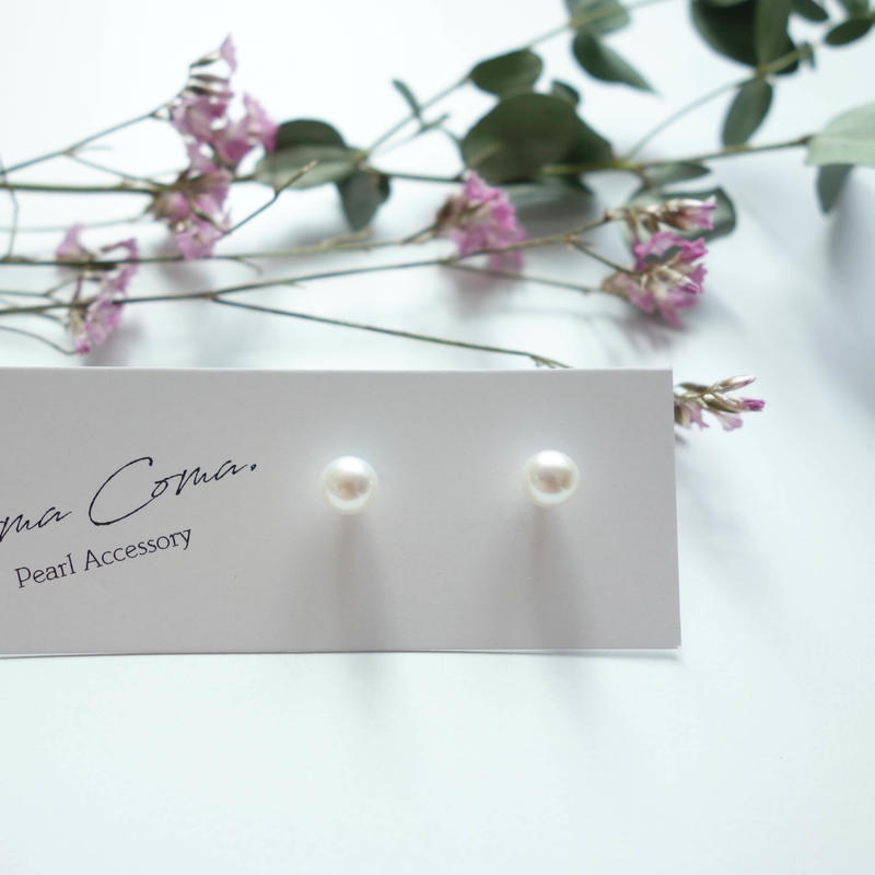 plain pearl pierced earrings  5.5-6mm