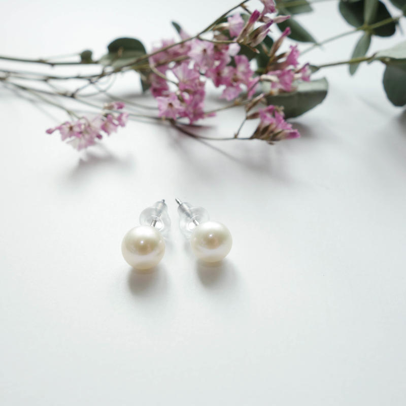 plain pearl pierced earrings  6-6.5mm