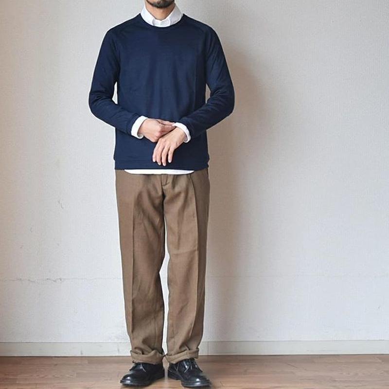【ロングシーズンで使えるウールのロンT!】Re made in tokyo japan メリノウール ラグラン クルーネックT ネイビー/チャコール