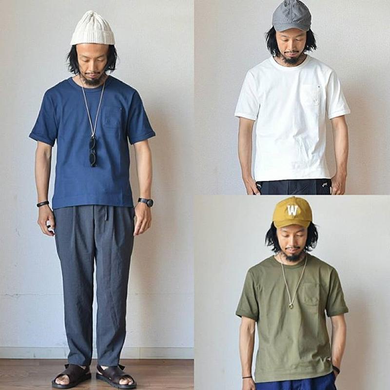 Re made in tokyo japan  スプリットラグラン ポケットTシャツ ネイビー/カーキ/ホワイト