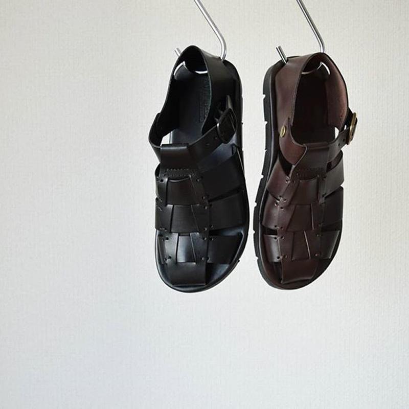 【サンダルと革靴の良いとこ取り!】ANTICHI ROMANI アンティキロマーニ グルカサンダル ブラック/ブラウン