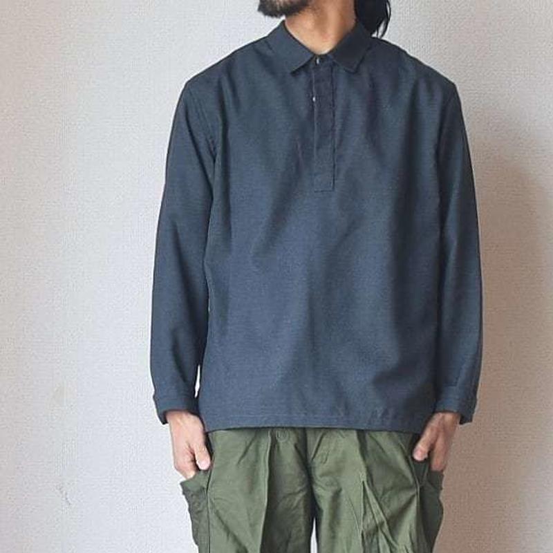 【ウールをシーズンレスで楽しめるシャツ】STILL BY HAND スティルバイハンド ウール混プルオーバーシャツ ブラック/チャコール