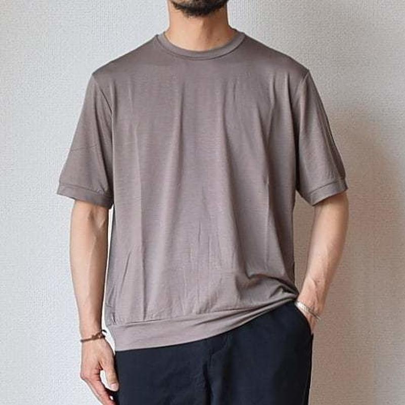 【これぞ大人のTシャツ!】LA MOND  ラモンド  ニットライクT モカ
