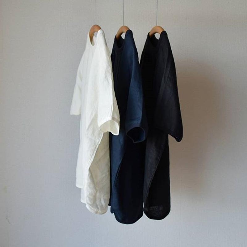 【6月パワープッシュ!】Re made in tokyo japan リラックス リネンTシャツ  ホワイト/ネイビー/ブラック