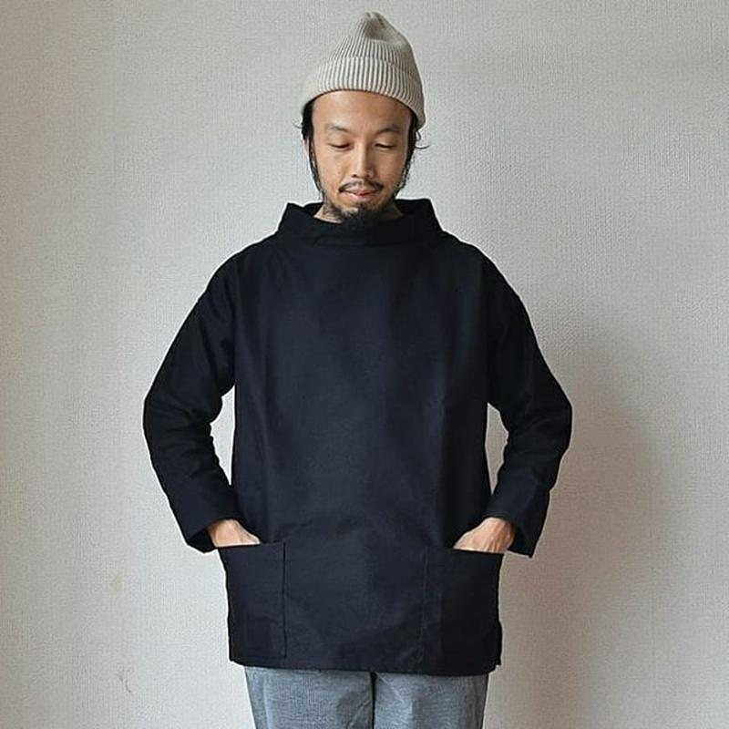 【ラスト1点!】nisica ニシカ モールスキン スモッグシャツ  ブラック/ベージュ