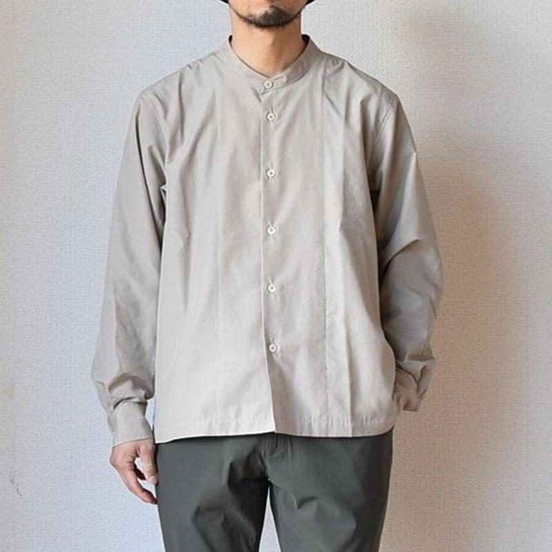 【真夏の羽織にも】LA MOND  ラモンド  バンドカラーシャツ グレーベージュ