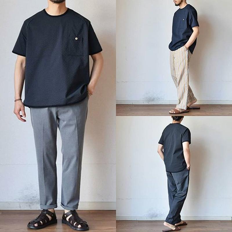【6/21再入荷決定!】Re made in tokyo japan リラックス シアサッカーTシャツ  ブラックST/ネイビーST【超クールなストライプ!】