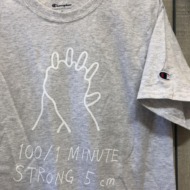 NEW!  100/1  ×  Champion  Tシャツ(アッシュ)