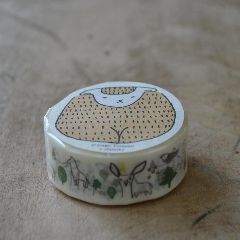 絵と木工のトリノコ / もり マスキングテープ 1巻パック(くろ)