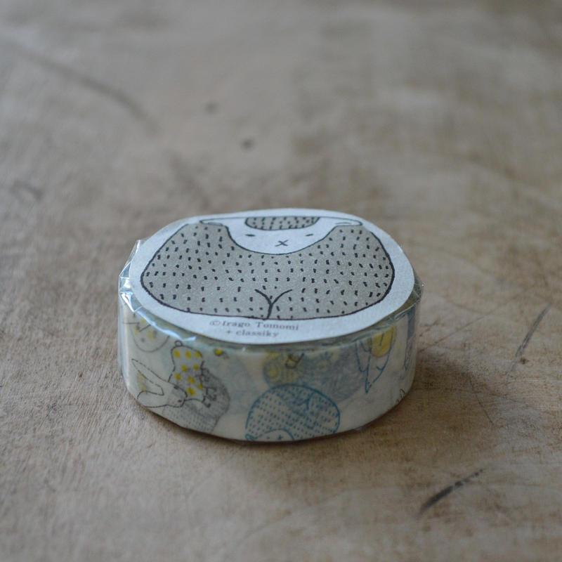 絵と木工のトリノコ / けものたち マスキングテープ 1巻パック(あお)