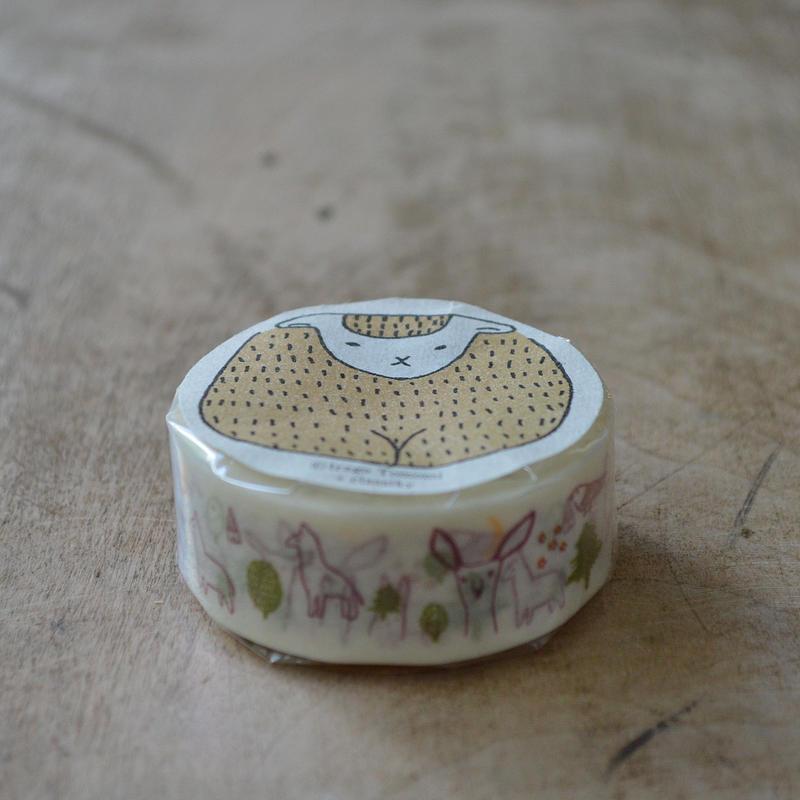 絵と木工のトリノコ / もり マスキングテープ 1巻パック(えんじ)