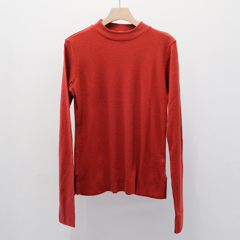 Silk rib mock neck L/S