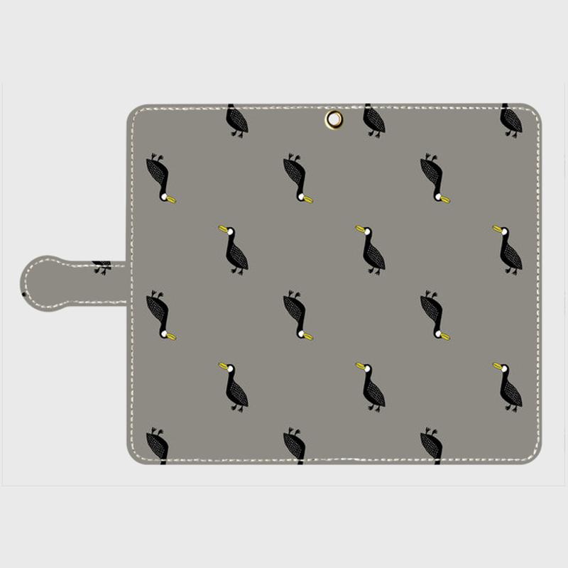 MOMENT BIRD GRAY 手帳型スマホケース Android L サイズ