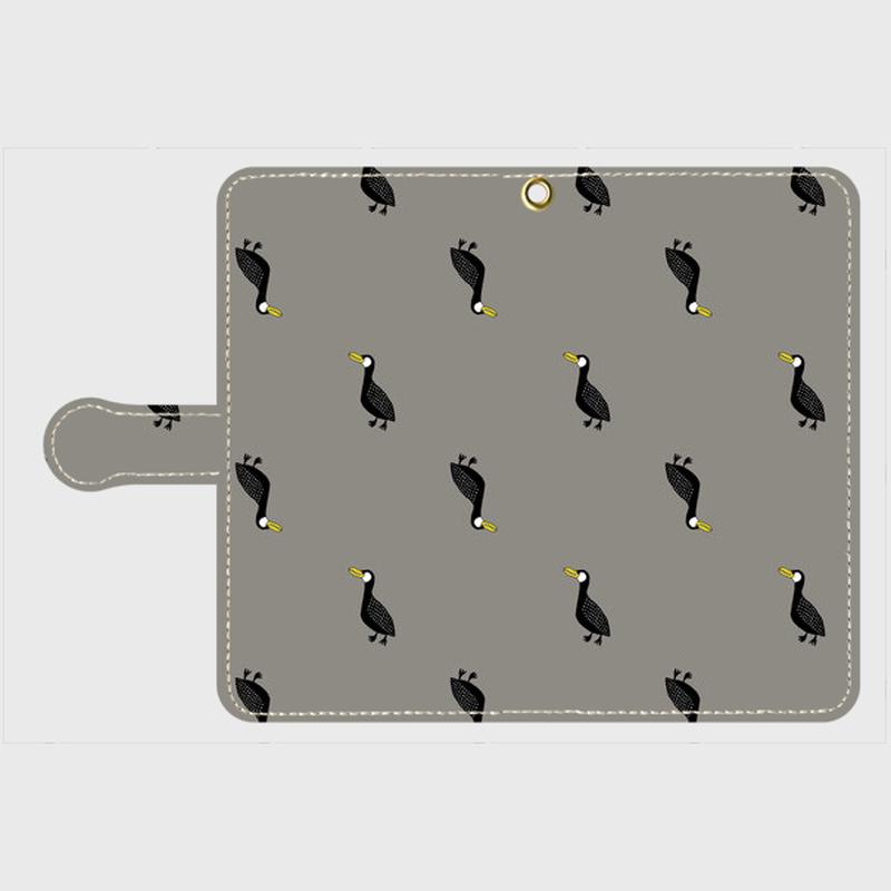 MOMENT BIRD GRAY 手帳型スマホケース Android M サイズ